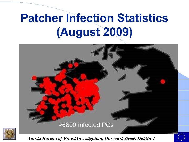 Patcher Infection Statistics (August 2009) >6800 infected PCs Garda Bureau of Fraud Investigation, Harcourt