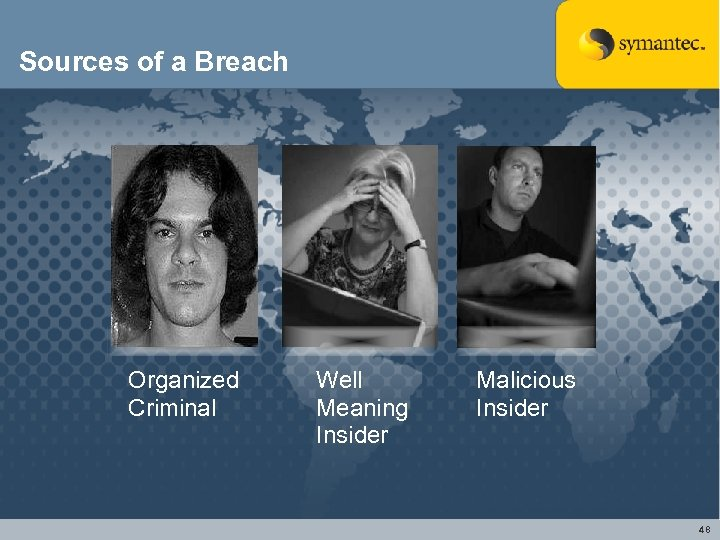 Sources of a Breach Organized Criminal Well Meaning Insider Malicious Insider 48