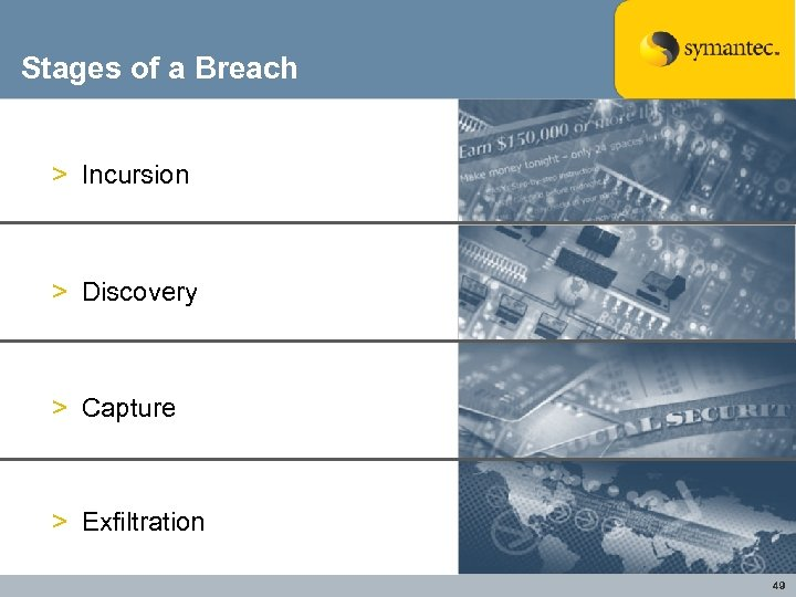 Stages of a Breach > Incursion > Discovery > Capture > Exfiltration 49