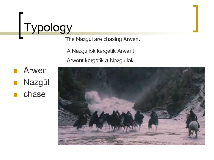 Typology The Nazgǔl are chasing Arwen. A Nazgullok kergetik Arwent kergetik a Nazgullok. n