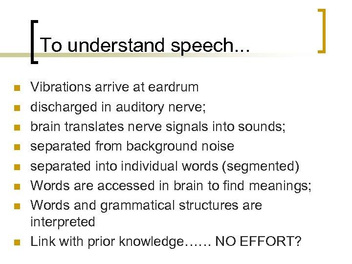 To understand speech. . . n n n n Vibrations arrive at eardrum discharged
