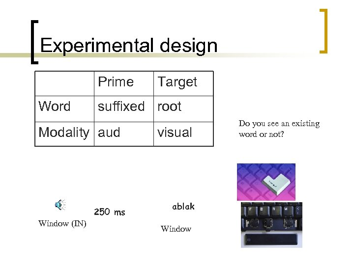 Experimental design Prime Word suffixed root Modality aud 250 ms Window (IN) Target visual