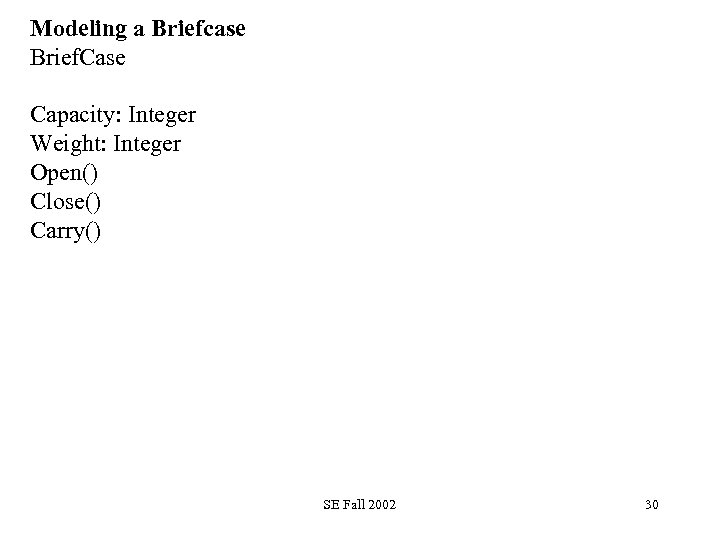 Modeling a Briefcase Brief. Case Capacity: Integer Weight: Integer Open() Close() Carry() SE Fall