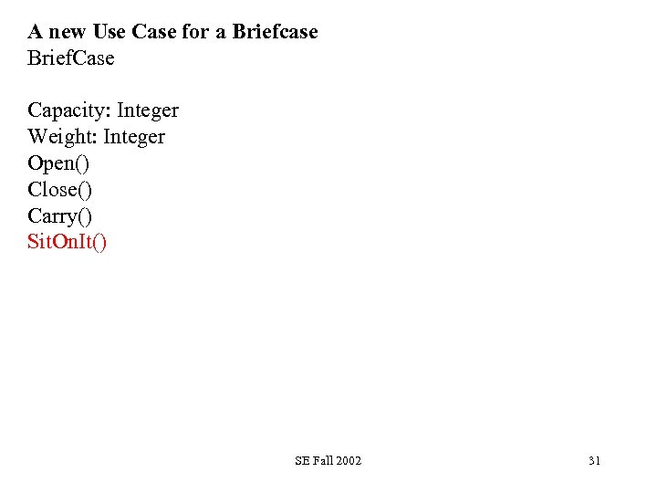 A new Use Case for a Briefcase Brief. Case Capacity: Integer Weight: Integer Open()