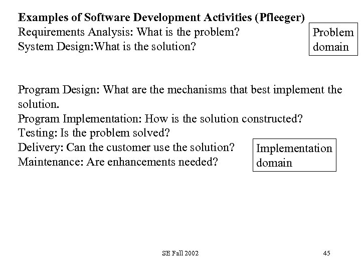 Examples of Software Development Activities (Pfleeger) Requirements Analysis: What is the problem? Problem System