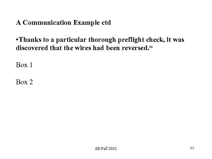 A Communication Example ctd • Thanks to a particular thorough preflight check, it was