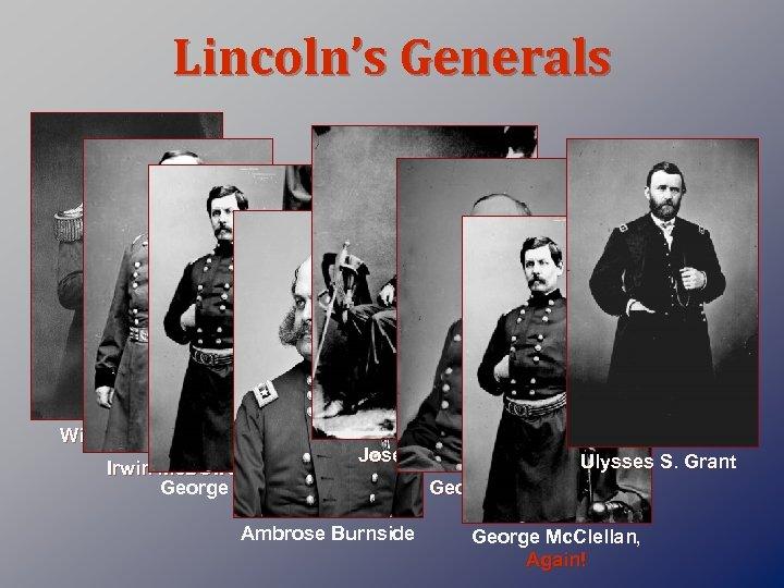 Lincoln's Generals Winfield Scott Irwin Mc. Dowell George Mc. Clellan Joseph Hooker Ambrose Burnside