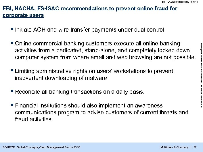 GCI-AAA 123 -20100303 -MHR 2010 FBI, NACHA, FS-ISAC recommendations to prevent online fraud for