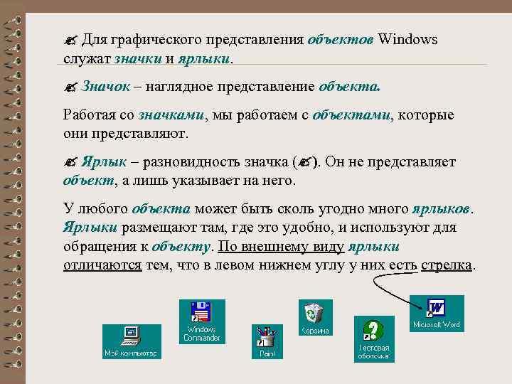 Для графического представления объектов Windows служат значки и ярлыки. Значок – наглядное представление