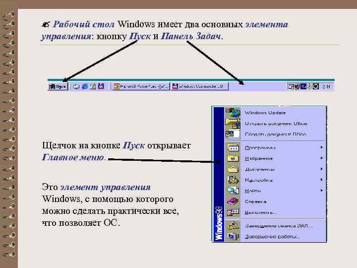 Рабочий стол Windows имеет два основных элемента управления: кнопку Пуск и Панель Задач.