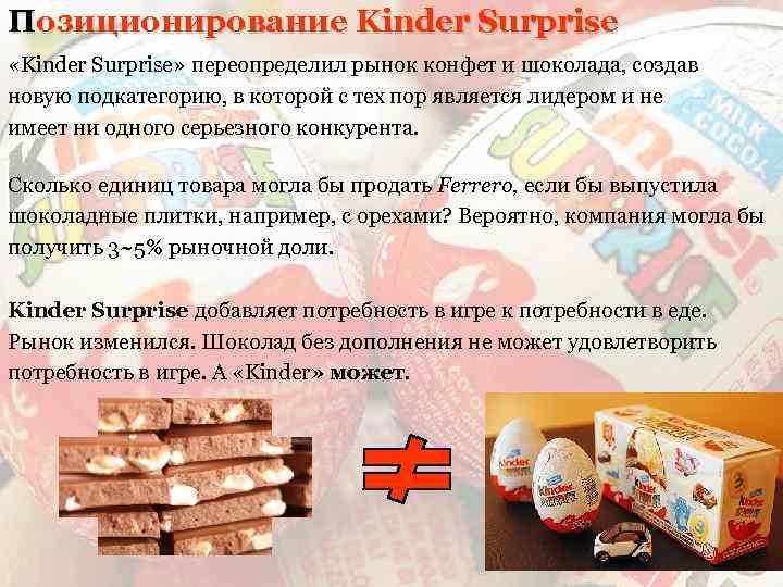 Позиционирование Kinder Surprise «Kinder Surprise» переопределил рынок конфет и шоколада, создав новую подкатегорию, в