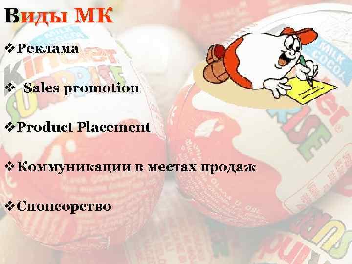 Виды МК v Реклама v Sales promotion v Product Placement v Коммуникации в местах