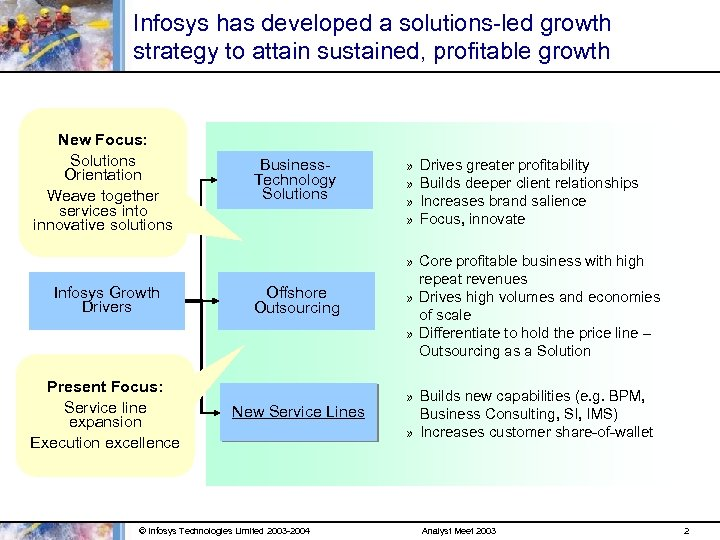 Infosys has developed a solutions-led growth strategy to attain sustained, profitable growth New Focus: