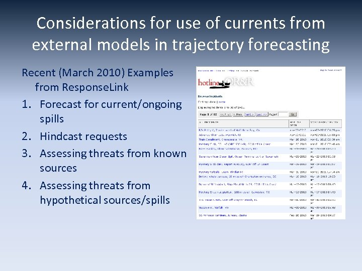 Considerations for use of currents from external models in trajectory forecasting Recent (March 2010)