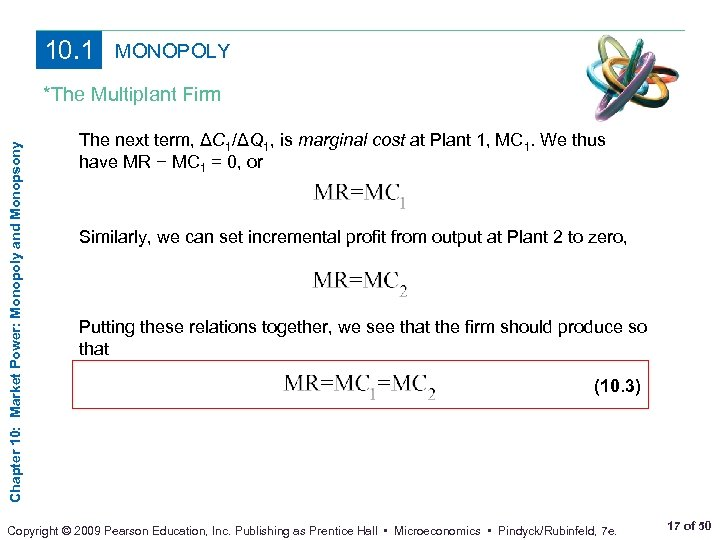10. 1 MONOPOLY Chapter 10: Market Power: Monopoly and Monopsony *The Multiplant Firm The