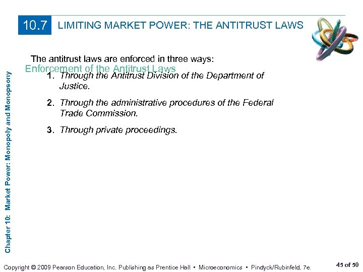 10. 7 LIMITING MARKET POWER: THE ANTITRUST LAWS Chapter 10: Market Power: Monopoly and