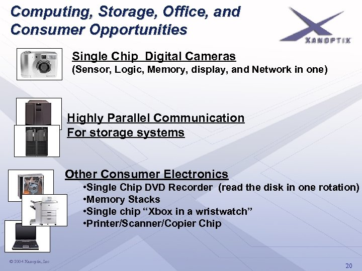 Computing, Storage, Office, and Consumer Opportunities Single Chip Digital Cameras (Sensor, Logic, Memory, display,