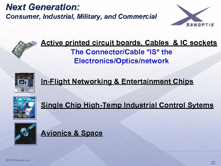 Next Generation: Consumer, Industrial, Military, and Commercial Active printed circuit boards, Cables & IC
