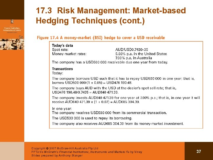 17. 3 Risk Management: Market-based Hedging Techniques (cont. ) Copyright 2007 Mc. Graw-Hill Australia