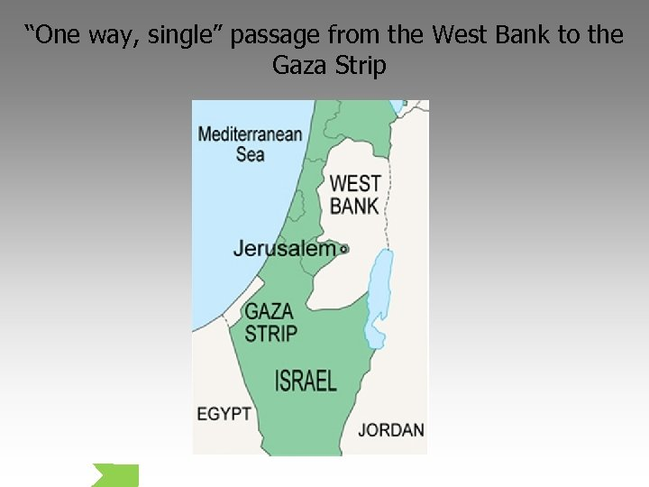 """""""One way, single"""" passage from the West Bank to the Gaza Strip"""