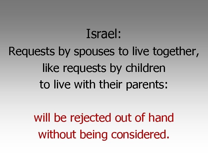 Israel: Requests by spouses to live together, like requests by children to live with