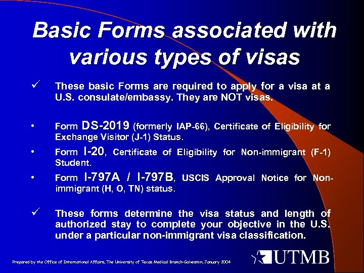 Basic Forms associated with various types of visas ü These basic Forms are required