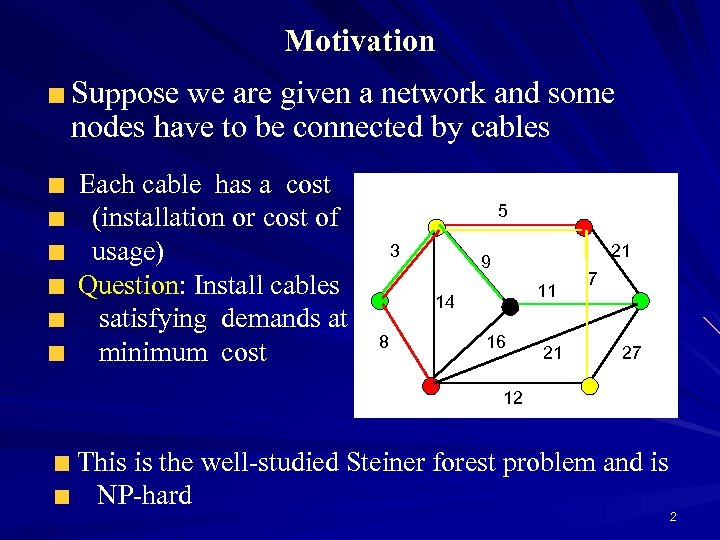 Motivation Suppose we are given a network and some nodes have to be connected
