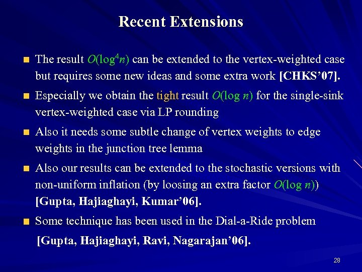 Recent Extensions The result O(log 4 n) can be extended to the vertex-weighted case