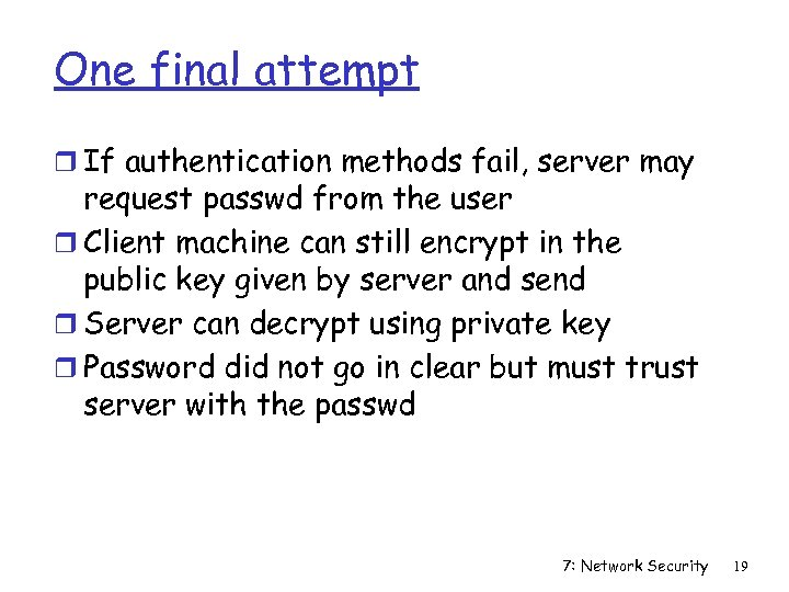 One final attempt r If authentication methods fail, server may request passwd from the