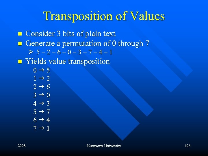 Transposition of Values n n Consider 3 bits of plain text Generate a permutation