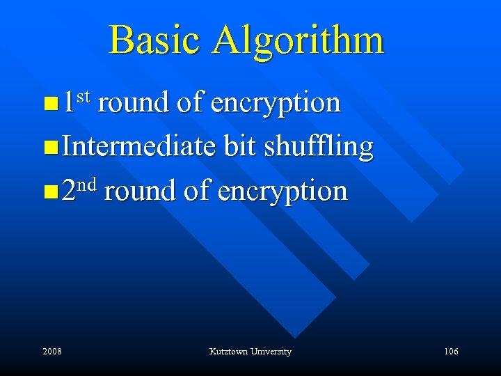 Basic Algorithm st round of encryption n 1 n Intermediate bit shuffling n 2