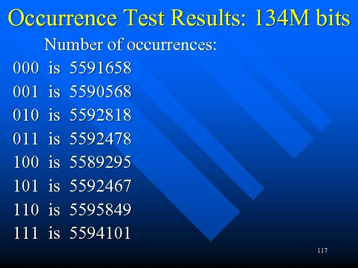 Occurrence Test Results: 134 M bits Number of occurrences: 000 is 5591658 001 is