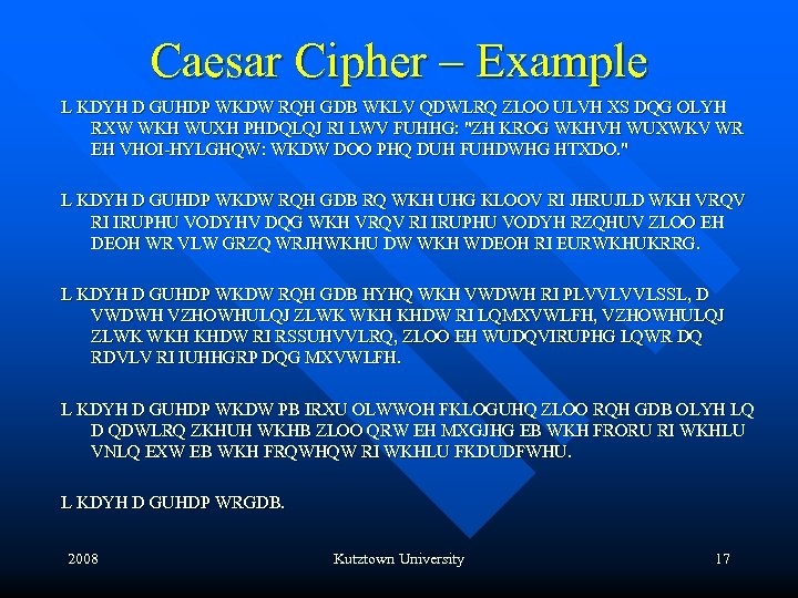 Caesar Cipher – Example L KDYH D GUHDP WKDW RQH GDB WKLV QDWLRQ ZLOO