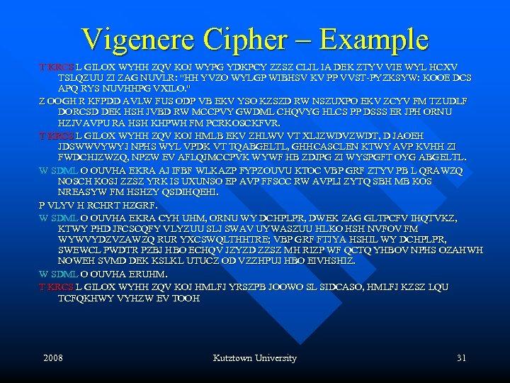 Vigenere Cipher – Example T KRCS L GILOX WYHH ZQV KOJ WYPG YDKPCY ZZSZ