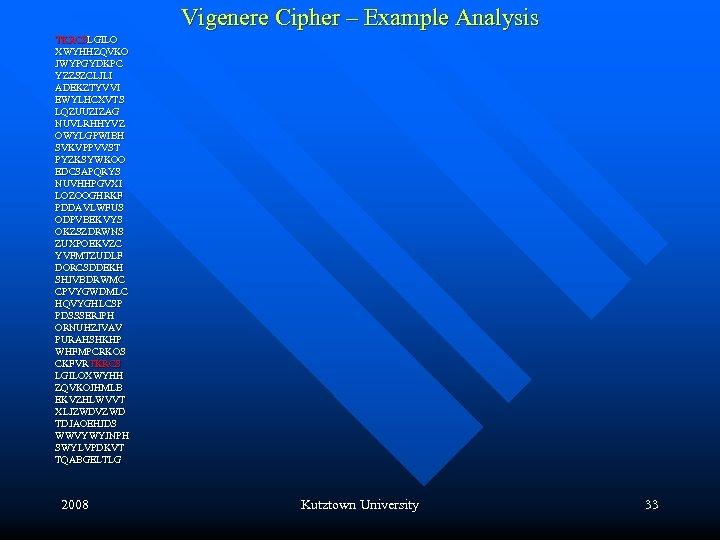 Vigenere Cipher – Example Analysis TKRCSLGILO XWYHHZQVKO JWYPGYDKPC YZZSZCLJLI ADEKZTYVVI EWYLHCXVTS LQZUUZIZAG NUVLRHHYVZ OWYLGPWIBH