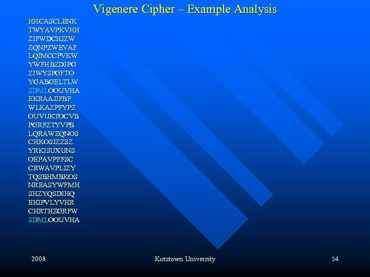 Vigenere Cipher – Example Analysis HHCASCLENK TWYAVPKVHH ZIFWDCHJZW ZQNPZWEVAF LQJMCCPVKW YWFHBZDJPG ZIWYSPGFTO YGABGELTLW SDMLOOUVHA