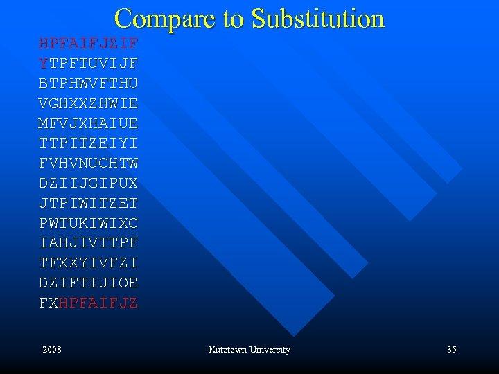 Compare to Substitution HPFAIFJZIF YTPFTUVIJF BTPHWVFTHU VGHXXZHWIE MFVJXHAIUE TTPITZEIYI FVHVNUCHTW DZIIJGIPUX JTPIWITZET PWTUKIWIXC IAHJIVTTPF