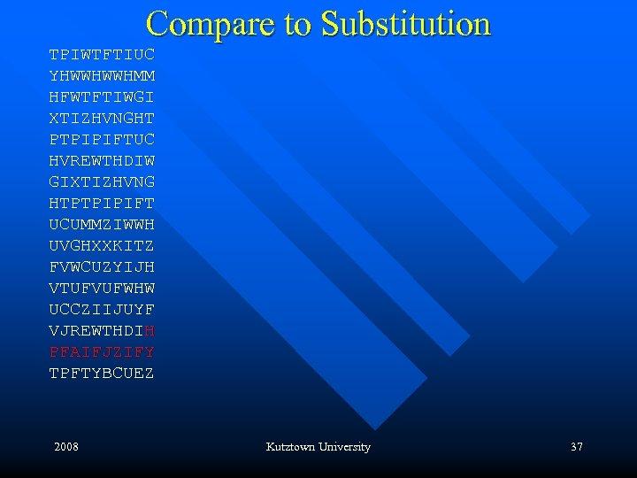 Compare to Substitution TPIWTFTIUC YHWWHWWHMM HFWTFTIWGI XTIZHVNGHT PTPIPIFTUC HVREWTHDIW GIXTIZHVNG HTPTPIPIFT UCUMMZIWWH UVGHXXKITZ FVWCUZYIJH