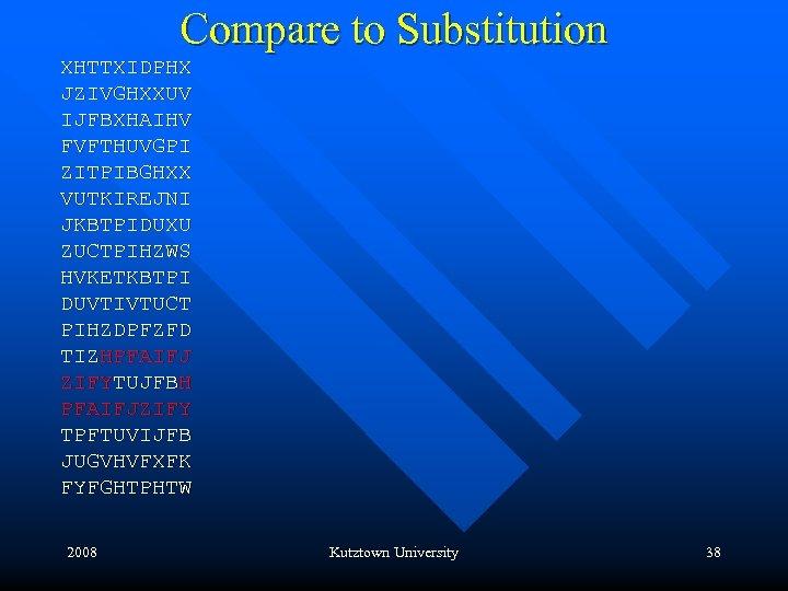 Compare to Substitution XHTTXIDPHX JZIVGHXXUV IJFBXHAIHV FVFTHUVGPI ZITPIBGHXX VUTKIREJNI JKBTPIDUXU ZUCTPIHZWS HVKETKBTPI DUVTIVTUCT PIHZDPFZFD