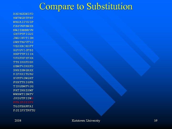 Compare to Substitution AHDHUEWZFD HWTWGHTPHT WNUAIZVUZP FAHVNPHWXH MWJZHMMHVN GHTPTPIGUZ JWUCHVTIZM UWHTHUVFVJ VEXXHCHDFT HUVUVIJFBZ HNPTTPIZIH