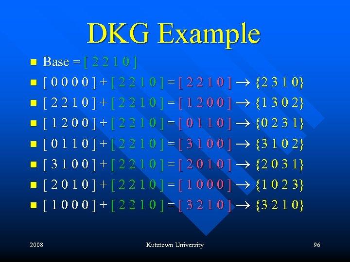 DKG Example n n n n Base = [ 2 2 1 0 ]