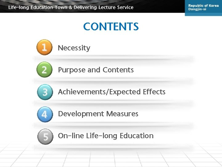 CONTENTS 1 Necessity 2 Purpose and Contents 3 Achievements/Expected Effects 4 Development Measures 5