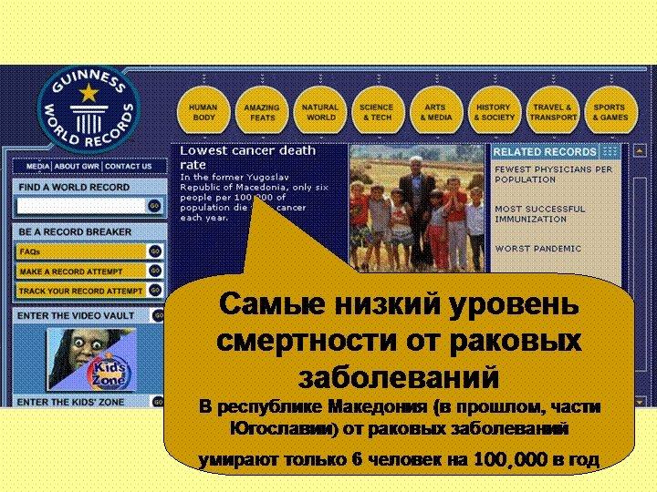 Самые низкий уровень смертности от раковых заболеваний В республике Македония (в прошлом, части Югославии)