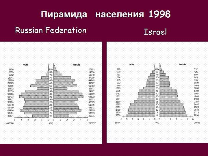 Пирамида населения 1998 Russian Federation Israel