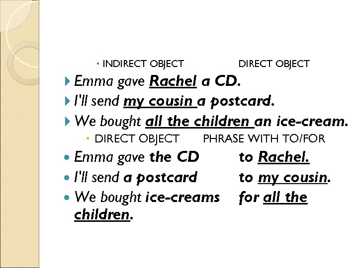 INDIRECT OBJECT Emma gave Rachel a CD. I'll send my cousin a postcard.