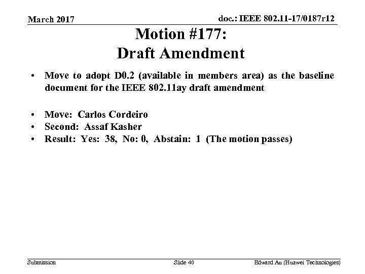 doc. : IEEE 802. 11 -17/0187 r 12 March 2017 Motion #177: Draft Amendment