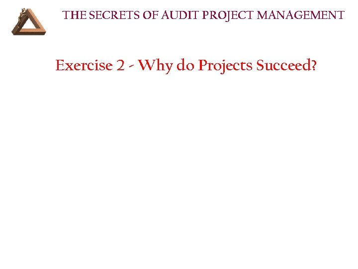 THE SECRETS OF AUDIT PROJECT MANAGEMENT Exercise 2 - Why do Projects Succeed?