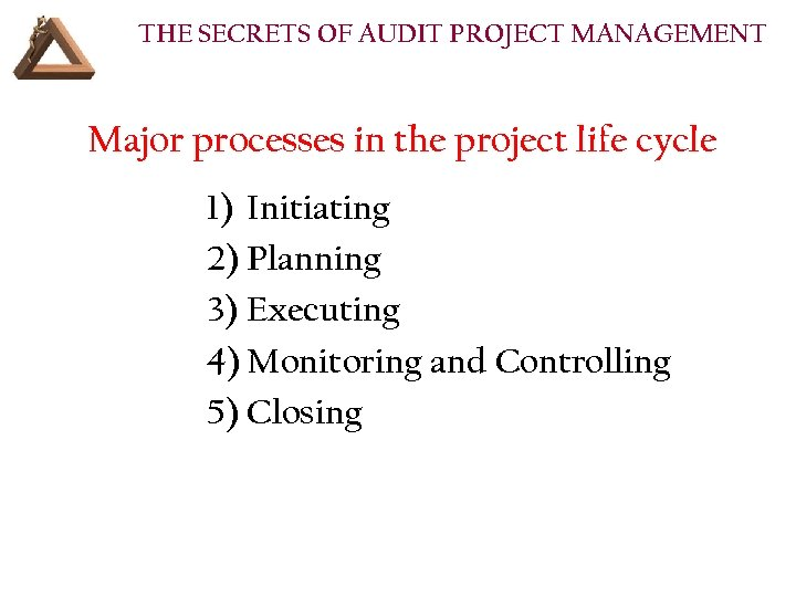 THE SECRETS OF AUDIT PROJECT MANAGEMENT Major processes in the project life cycle 1)
