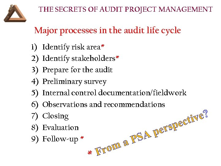 THE SECRETS OF AUDIT PROJECT MANAGEMENT Major processes in the audit life cycle 1)