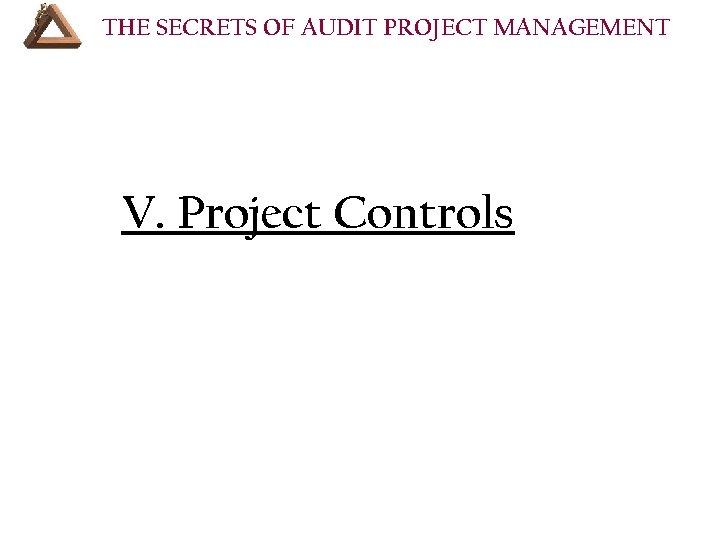 THE SECRETS OF AUDIT PROJECT MANAGEMENT V. Project Controls • VII. Resources Your audit
